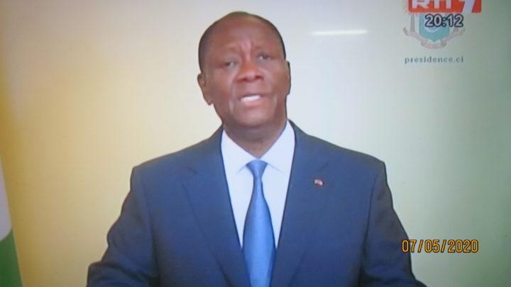 Covid-19: Message à la nation du chef de l'Etat Alassane Ouattara , A partir du 8 mai 2020 , levée du couvre-feu à l'intérieur du pays.